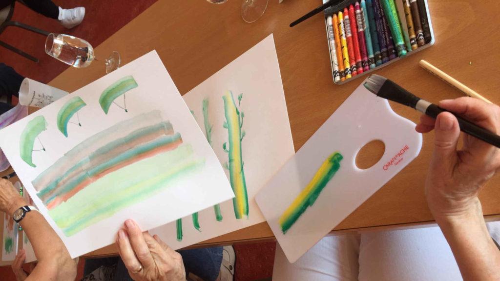 peinture groupe atelier art-thérapie senior